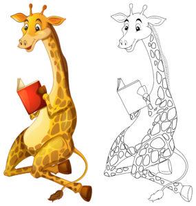 COLORIAGE-girafe-qui-lit